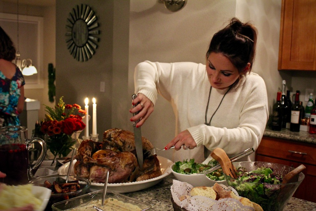 Irina carving the turkey