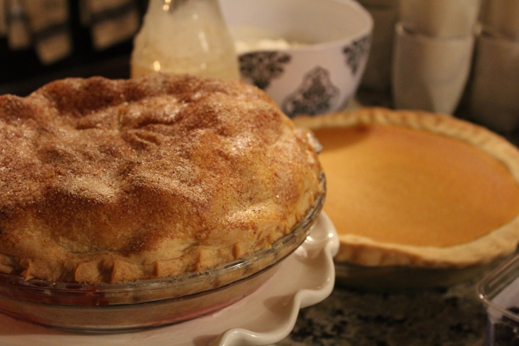 Apple berry pie, cream cheese pumpkin pie, egg nog, and fresh whipped cream