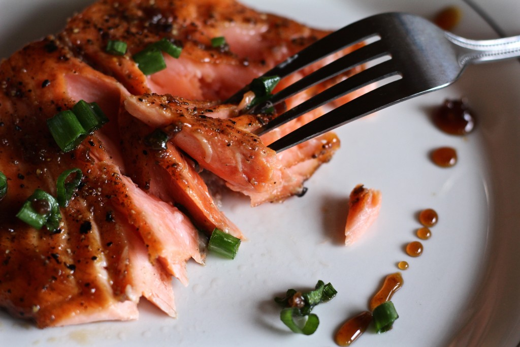 salmon with garlic honey bourbon glaze