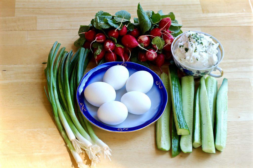 fresh cucumber radish egg salad