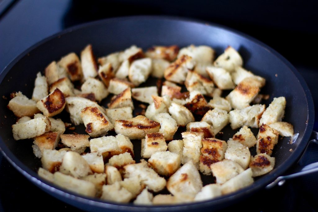 Toasted croutons ready to be eaten!