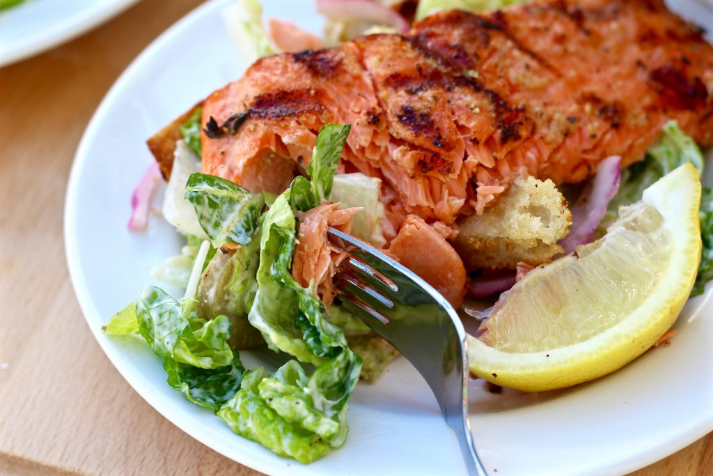 Grilled salmon Caesar salad.