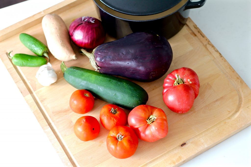 roasted summer veggie soup