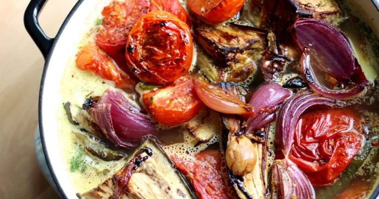 Oven Roasted Summer Veggie Soup