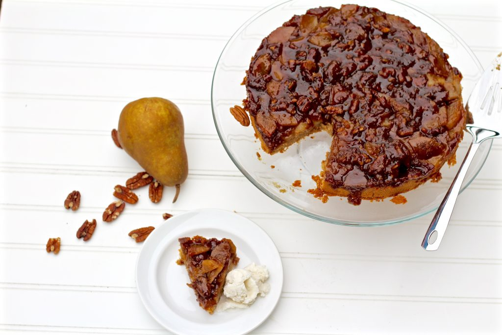 salted caramel pear upside down cake