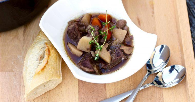 Savory Roasted Garlic Red Wine Beef Stew