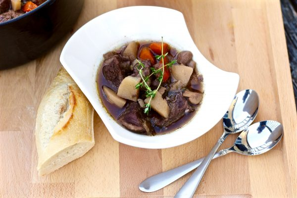 Savory Roasted Garlic Red Wine Beef Stew