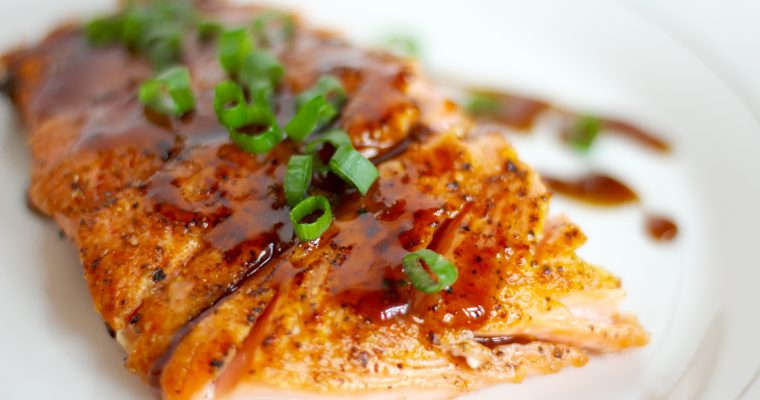 The Perfect Salmon With Garlic Honey Bourbon Glaze