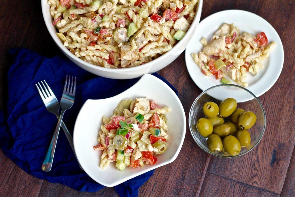 Fresh Greek Chicken Pasta Salad