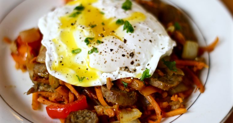 Sweet Potato Hash With Simple Poached Egg Video Tutorial