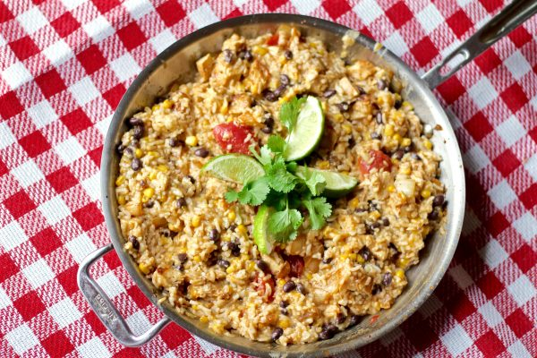 Cheesy Chicken Enchilada Rice Skillet (Great For Freezing)