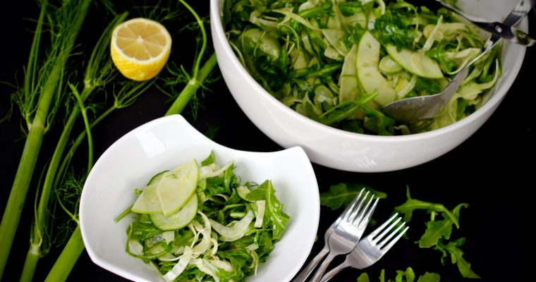 Shaved Fennel Arugula Salad w/ Maple Lemon Vinaigrette